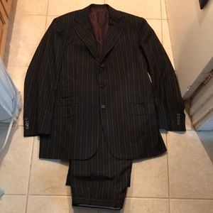 Kiton Napoli 100% Cashmere Black Striped Suit